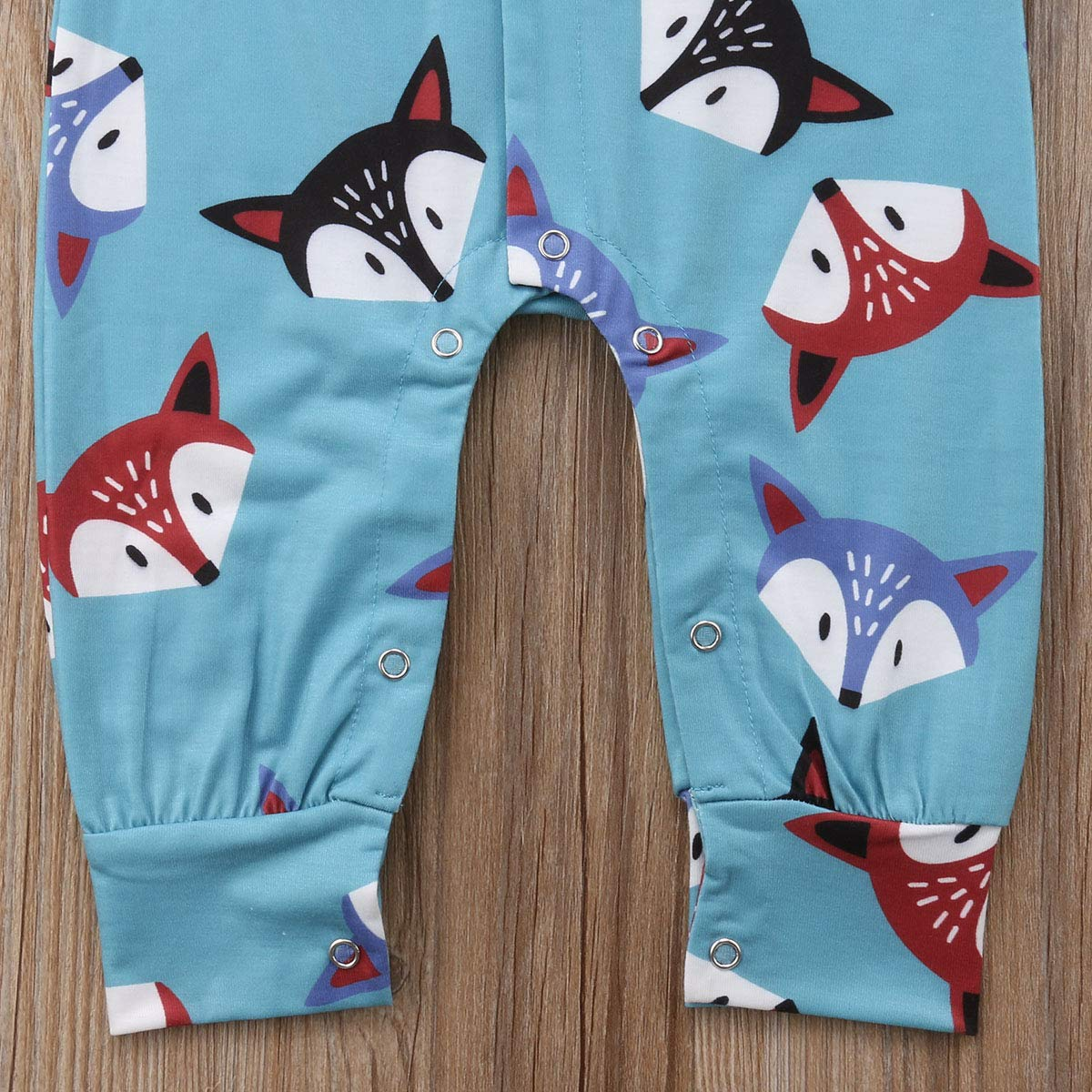 Baby Boy Girl Cute Animal Printed Fox Hoodie Long Sleeve One-Piece Romper Jumpsuit Coverall Clothes