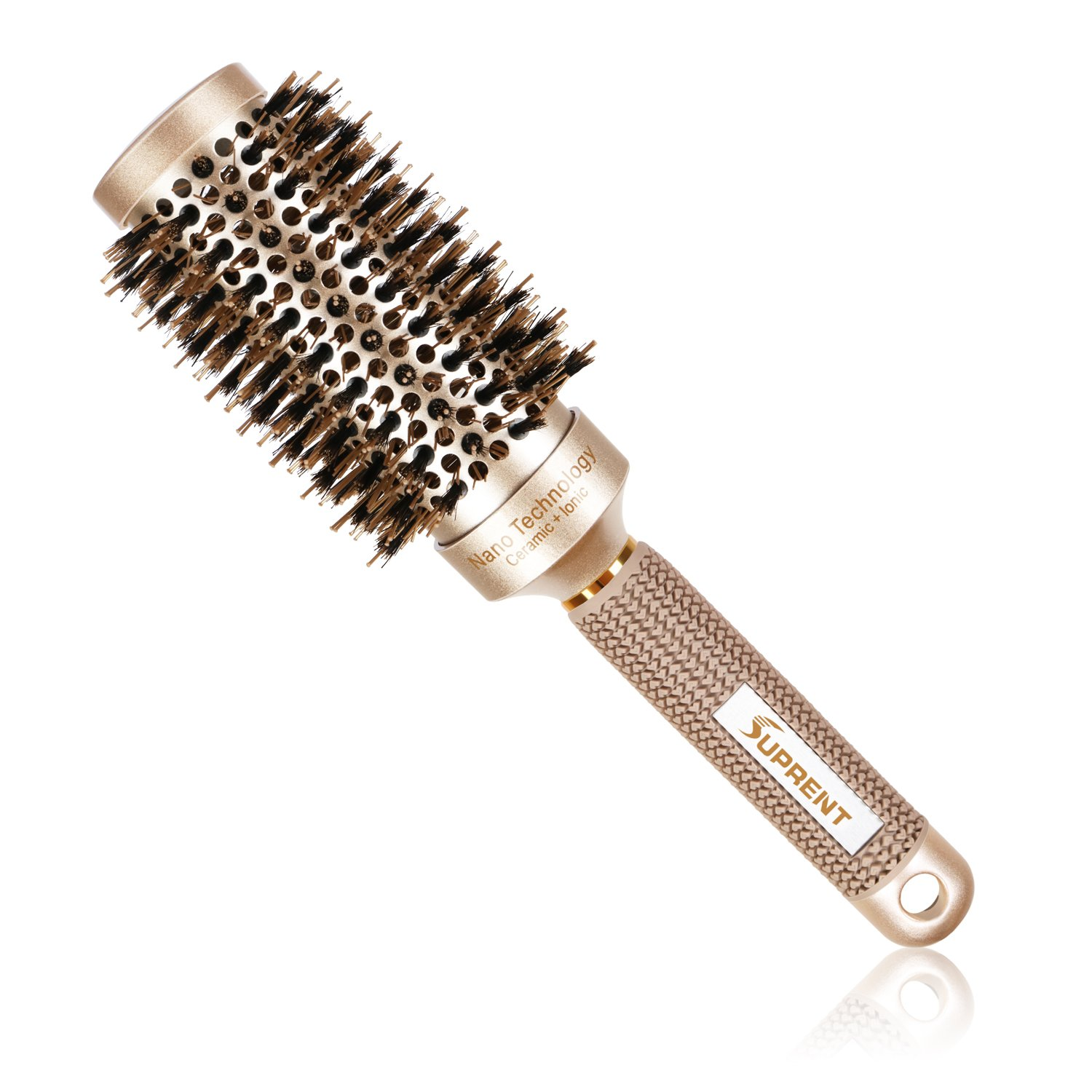 SUPRENT Nano Thermal Ceramic & Ionic Round Barrel Hair Brush with Boar Bristle, 1.8 inch, for Hair Drying, Styling, Curling, Adding Hair Volume and Shine, Gold Color(1.8 inch)