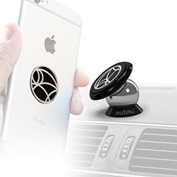 Best Car Phone Holder 100% Universal Magnetic Dashboard Mount Kit by Wuteku  | For All Vehicles, Phones & Tablets | iPhone X,8,7 Galaxy S8 S7 | 2 Discs