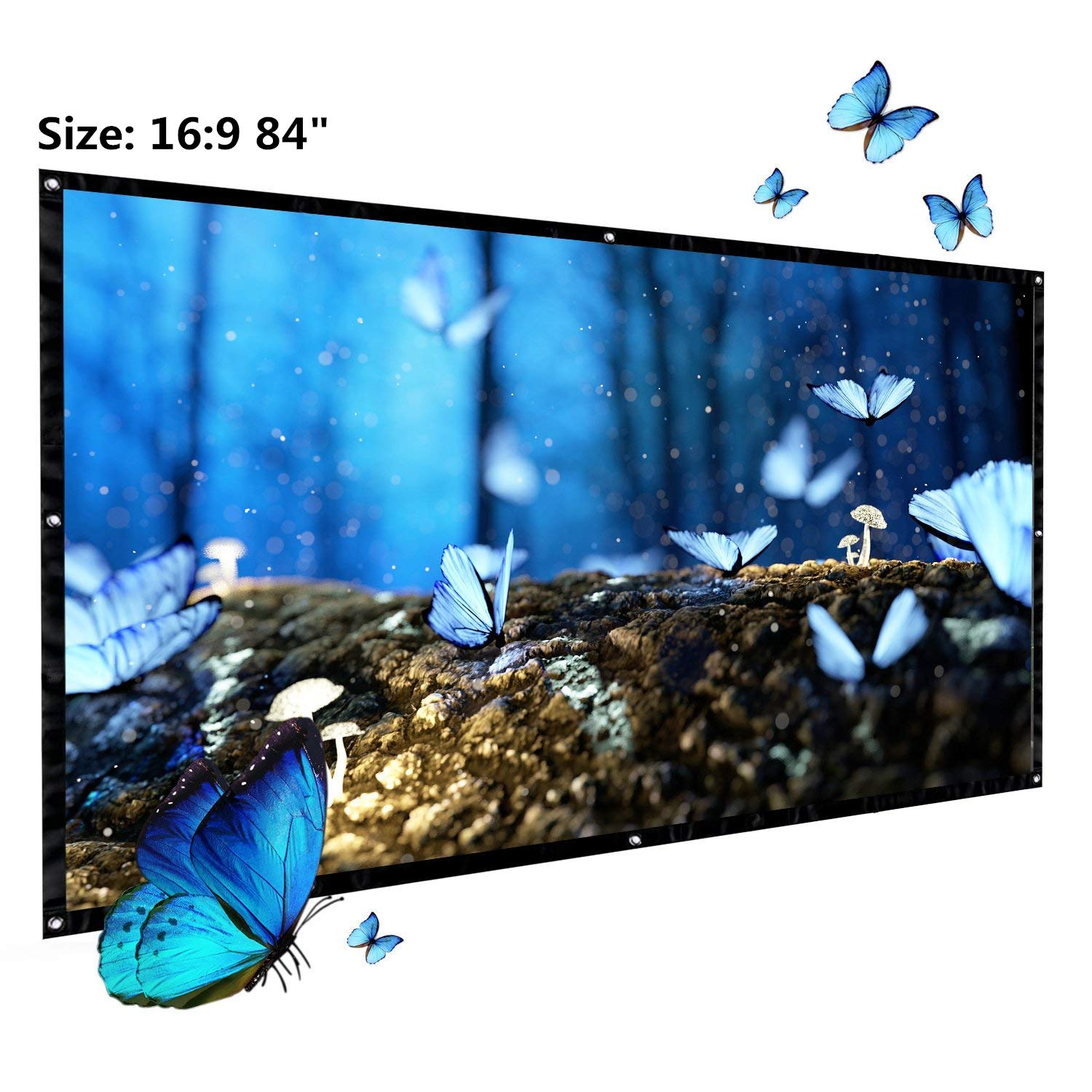 Projector Screen, Auledio Portable Outdoor Movie Screen 120 16:9 Home Cinema Theater Projection Screen