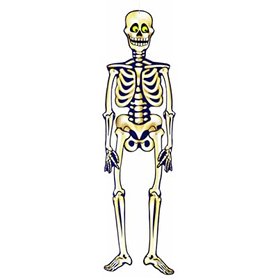 "Unique Industries 35"" Hanging Jointed Skeleton Halloween Decoration, Multicolor - 88063: Childrens Party Decorations: Kitchen & Dining"