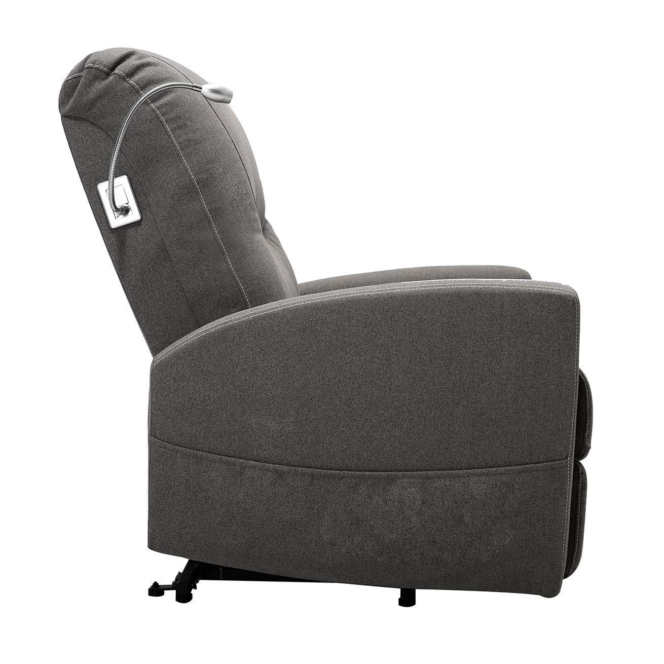 DLM Design Fauteuil Relax /électrique massant releveur en Tissu Gris Pacha