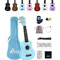 Winzz Sopraan Ukelele Starter Kit voor Beginners, met Tas, Clip-on Tuner, Extra Snaren, Riem, Plectron…
