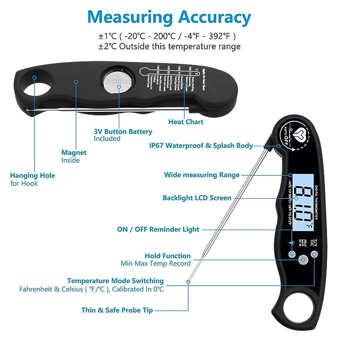 Lectura instantánea Digital termómetro, termómetro de cocción de ...
