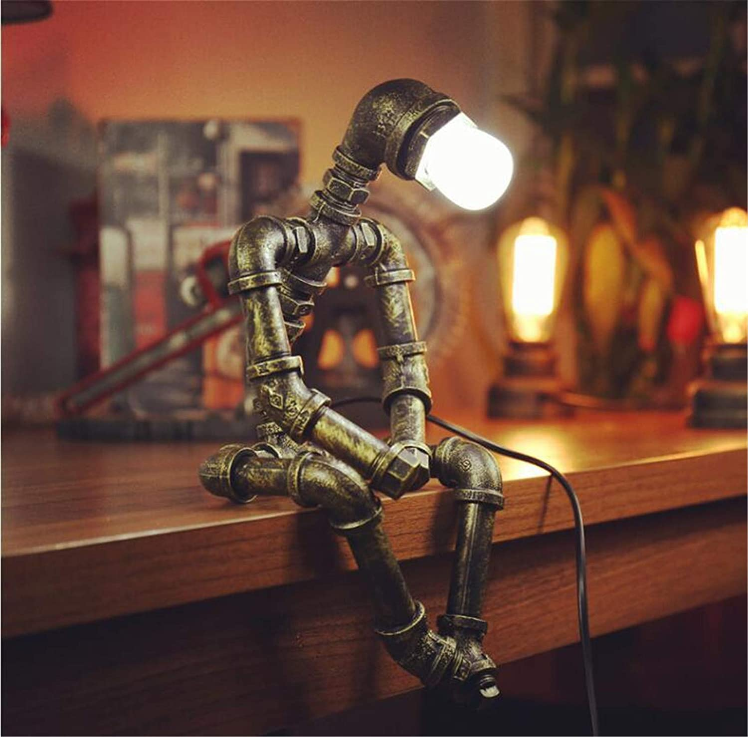 Ranefe Steampunk Industrial Decor Table Lamp,Vintage Cool Pipes Robot Lamp Iron Bronze Industrial Steampunk Decor Table Desk Lamp for Living Room,Bedroom,Home Office