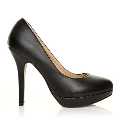 Eve - High Heels Stöckelschuhe schwarz PU Leder Stilettos Plateau Pumps -  Schwarz PU, Synthetik 2392cdf5b6