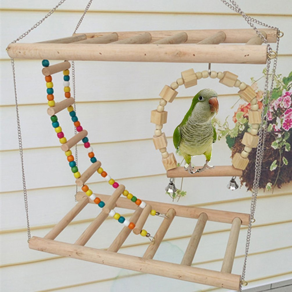 Bird Wood Double Perch Ladder Bendable Ladder and Swing Perch Sets Toys for Bird Parrot Macaw African Greys Budgies Parakeet Cockatiel Cockatoo Conure Lovebird Finch Perch (A: 7.87in3.93in7.87in) by Peety (Image #4)