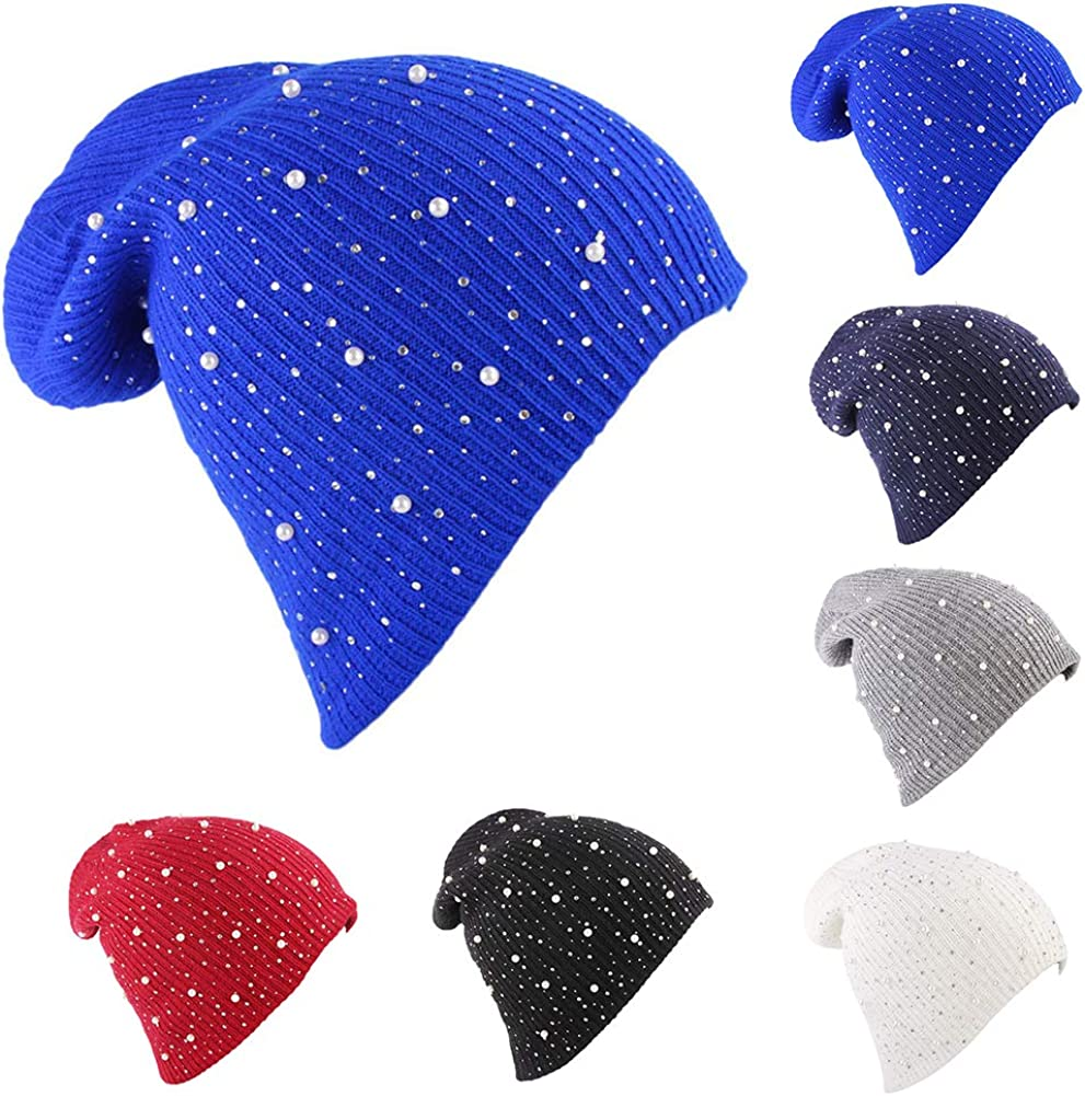 Sapphire Blue Powerfulline Stylish Women Casual Solid Color Knitted Faux Pearl Rhinestone Beanie Hat Cap