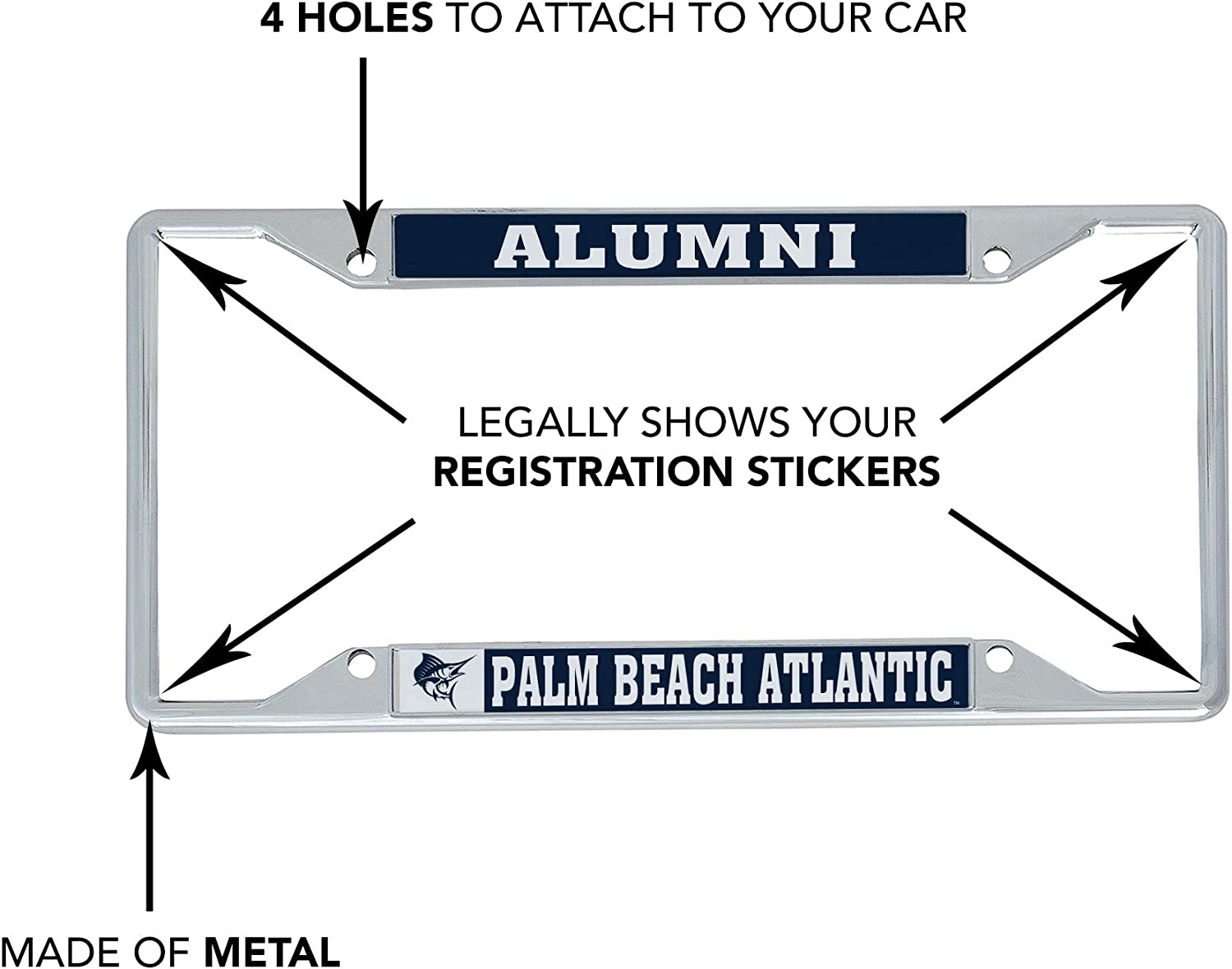 Alumni Palm Beach Atlantic University PBA Sailfish NCAA Metal License Plate Frame for Front or Back of Car Officially Licensed