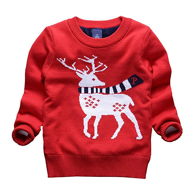 taiycyxgan toddler boys girls deer ugly christmas sweater kids pullover sweatshirt red 110