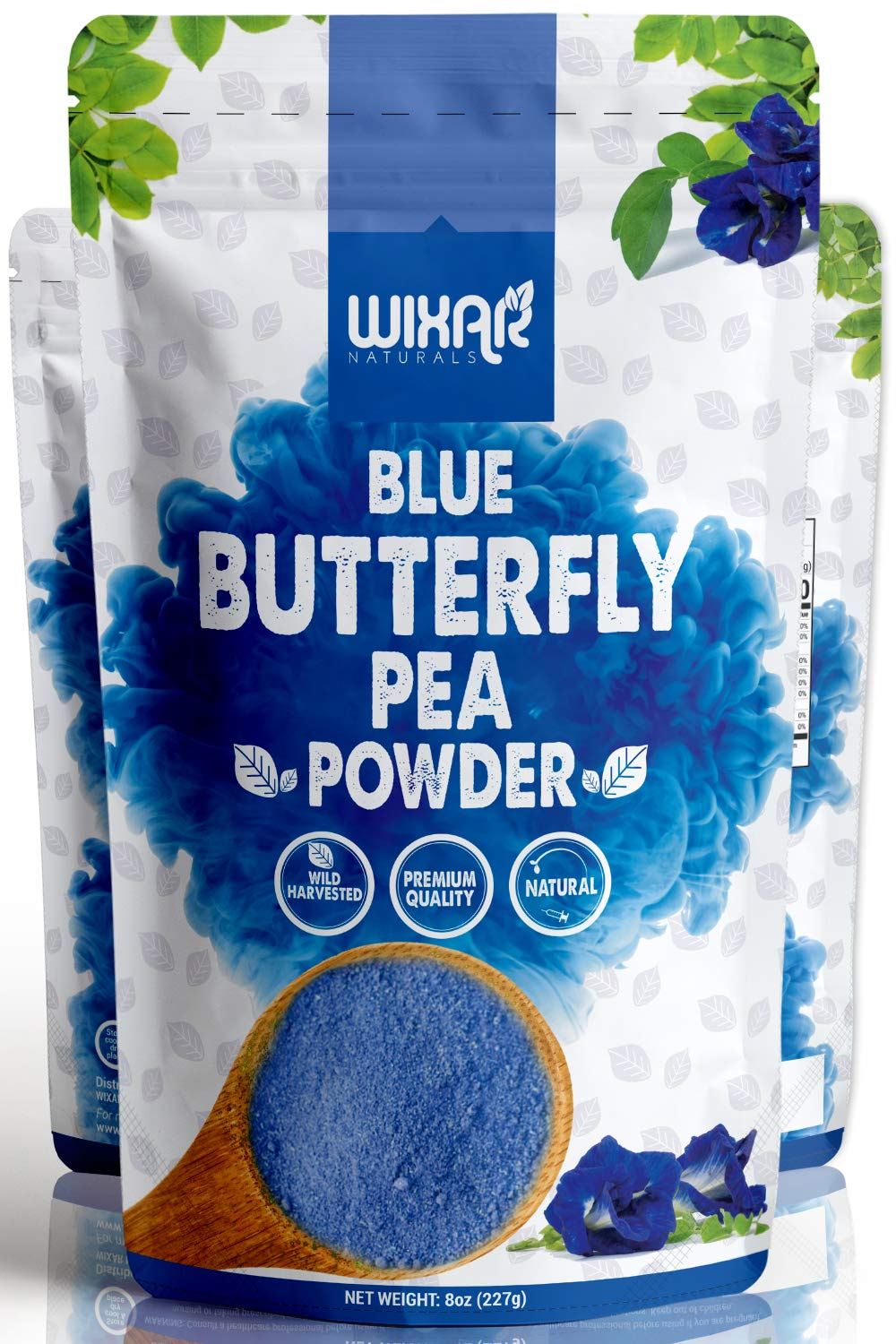 Wixar Naturals Blue Butterfly Pea Flower Powder - (8 Ounce) - Culinary Grade Blue Matcha - Natural Food Coloring - Premium Quality Superfood - No Artificial Dye