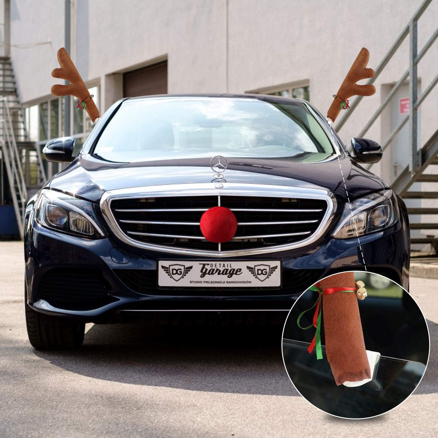 2 Pack Car Reindeer Antlers Christmas Decorations Jingle Bell Reindeer Car Kit for Window Top and Front Grille