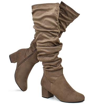 72d0a1425cf Premier Standard - Women s Over The Knee Suede Stretch Boot - Low Block Heel  Shoe -