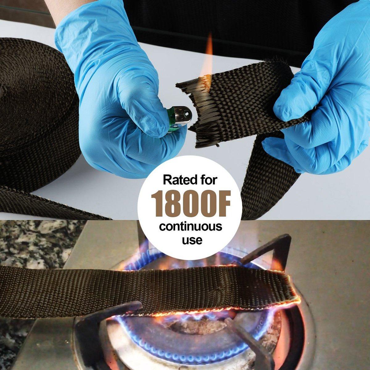 OZUAR 10m Car Motorcycle Exhaust Wrap Tape Fiberglass Heat Shield 4.5CM*10M 10pcs Stainless Cable Ties