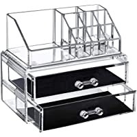 Acrylic Makeup Organizer Clear Cosmetic Storage Stack-able 2 Drawers 8 Slots (2 Piece Medium) Bedroom Dressing Table Jewelry Display Box Makeup Brushes Lipsticks Holder Plastic Vanity Set containers