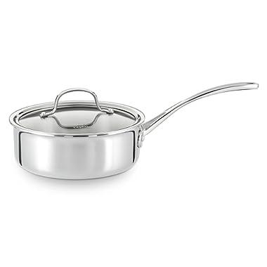 Calphalon Tri-Ply Stainless Steel Cookware, Shallow Sauce Pan, 2 1/2-quart