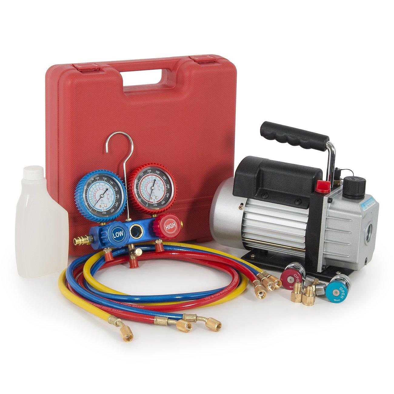 R134a Manifold + 3CFM Vacuum Pump