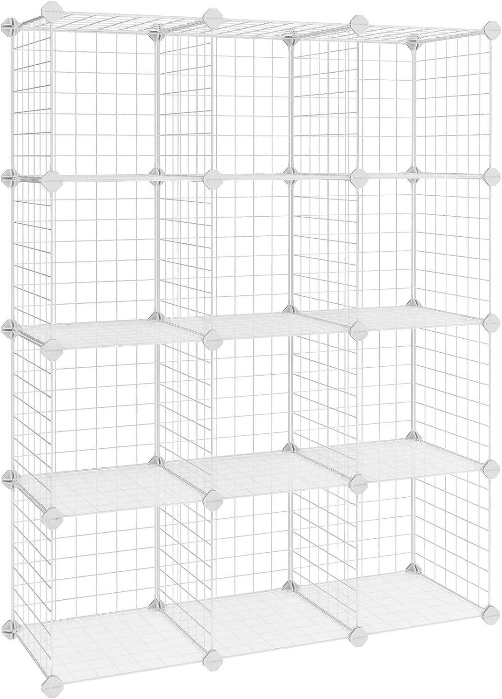 SONGMICS Armario Modular de Malla de Hierro, Estantería de Almacenaje con 12 Cubos, Organizador Modulable y Ajustable, Multiuso, para Libros, Ropa y Zapatos, en Baño, 93 x 31 x 123 cm, Blanco LPI34W
