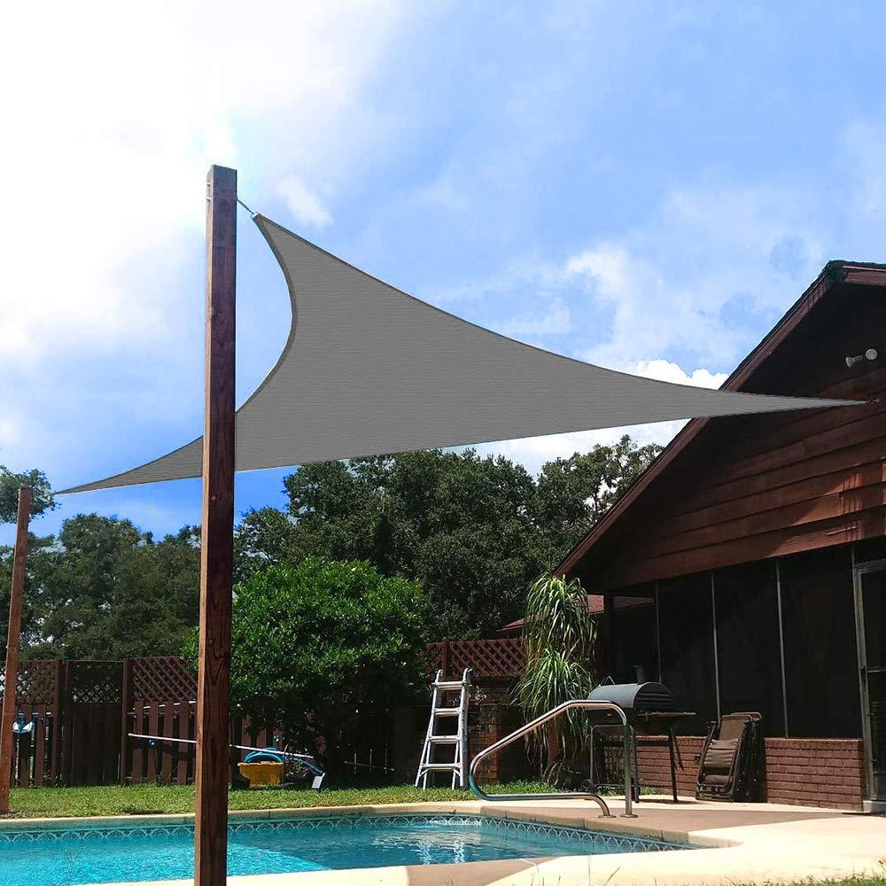 Vela de Sombra Triangular 3x3x3 Toldo Vela Triangular Impermeable Beige Toldos para Jard/ín Protecci/ón Solar Rayos UV para Jard/ín Patio Terraza Balc/ón Exteriores Accesorios de Montaje Todo Inclu/ído