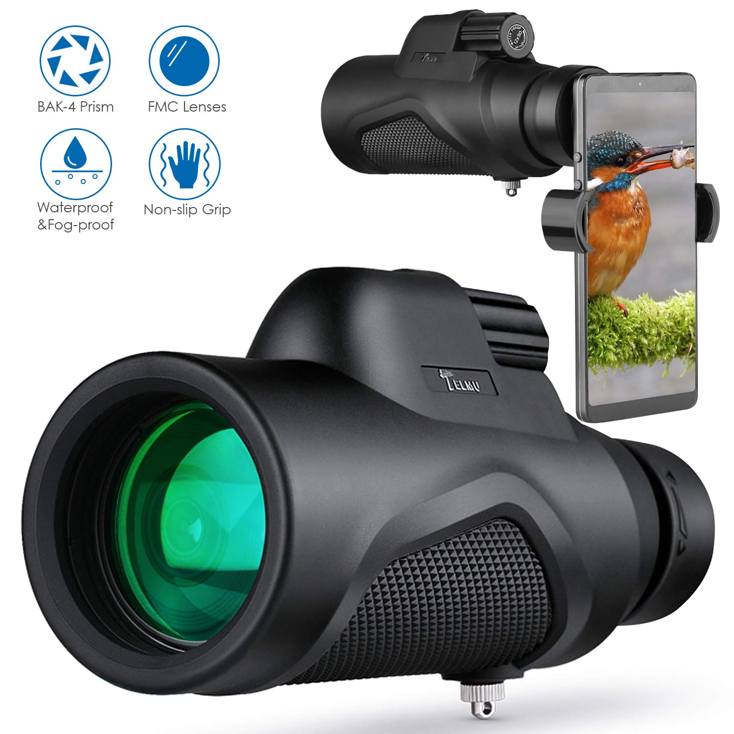 TELMU Monocular Telescope Lightweight for Bird Watching and Concerts Viewing, Hunting, Camping, High Powered 12X50 with BAK-4 Prism and FMC Objective Lens by TELMU