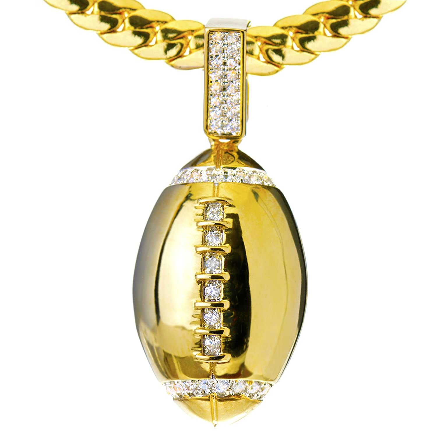 ball soccer necklace gold stainless s com football inch pendant amazon jajafook steel dp chain men with plated