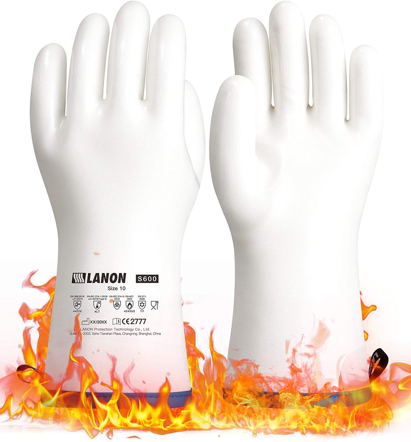 LANON Liquid Silicone Heat Resistant Gloves with CoralAir Liner for Oven Barbecue Grill Cooking Baking Kitchen, Food Grade, Waterproof, White, Size 10