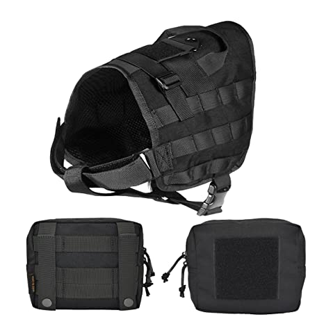716ArVMNWSL._SX466_ amazon com petsidea tactical dog molle vest harness adventure k9