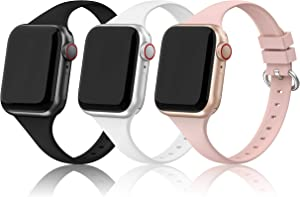 EDIMENS Silicone Sports Band Compatible with Apple Watch 38mm 40mm, 3 Pack Soft Bands Wristbands Compatible for Apple Watch iWatch Series 6 5 4 3 2 1 SE Sport Edition Women Men