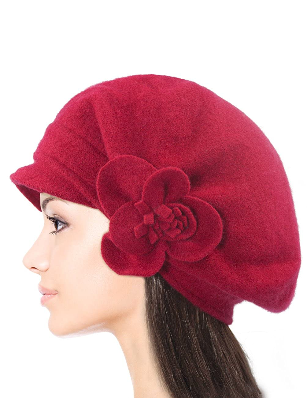 Dahlia Women s Reversible Wool Beret Hat - Flower Accented HT0080WLW-BK  larger image 722639aa30a4
