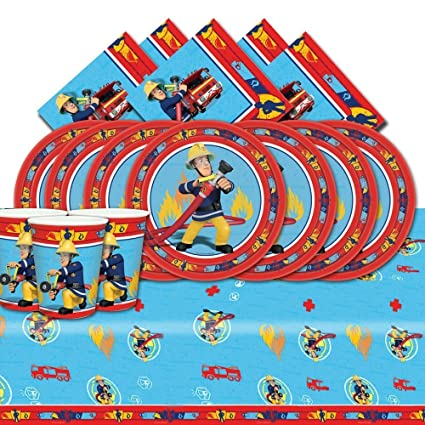 Amazon.com: Fireman Sam Complete Party Supplies Kit Blue For ...