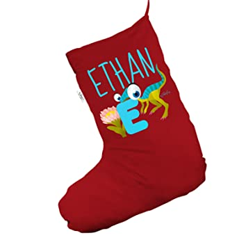 personalised baby dinosaur letter e large red christmas stocking gift bag