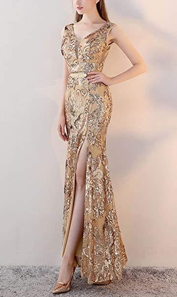 87704b5c48 Fanhao Women s V Neck Golden Sequins with Belt Mermaid Split Long Prom  Dress at Amazon Women s Clothing store