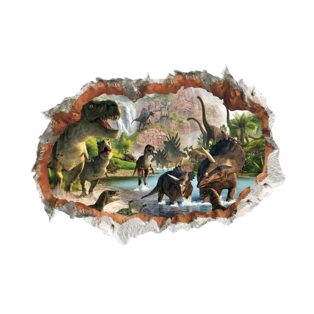 Winhappyhome Dinosaur Scene Fake Wall Art Stickers for Bedroom Living Room Coffee Shop Background Removable Decor Decals
