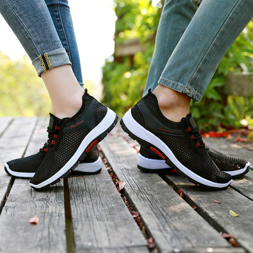DATEWORK Womens Fashion Breathable Couple Mesh Mens Sport Running Walking Shoes Sneakers