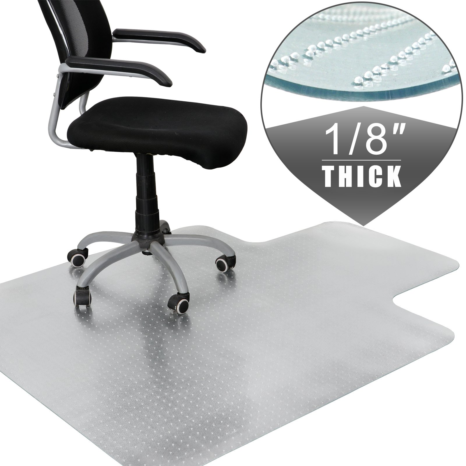 F2C 60-Inch by 48-Inch 1/8''(3MM) Thickness Plastic Floor Office Chair Mat 60'' X 48'' Clear Protector Office Chair Rug Carpet Floor Computer Desk 1520mm x 1220mm