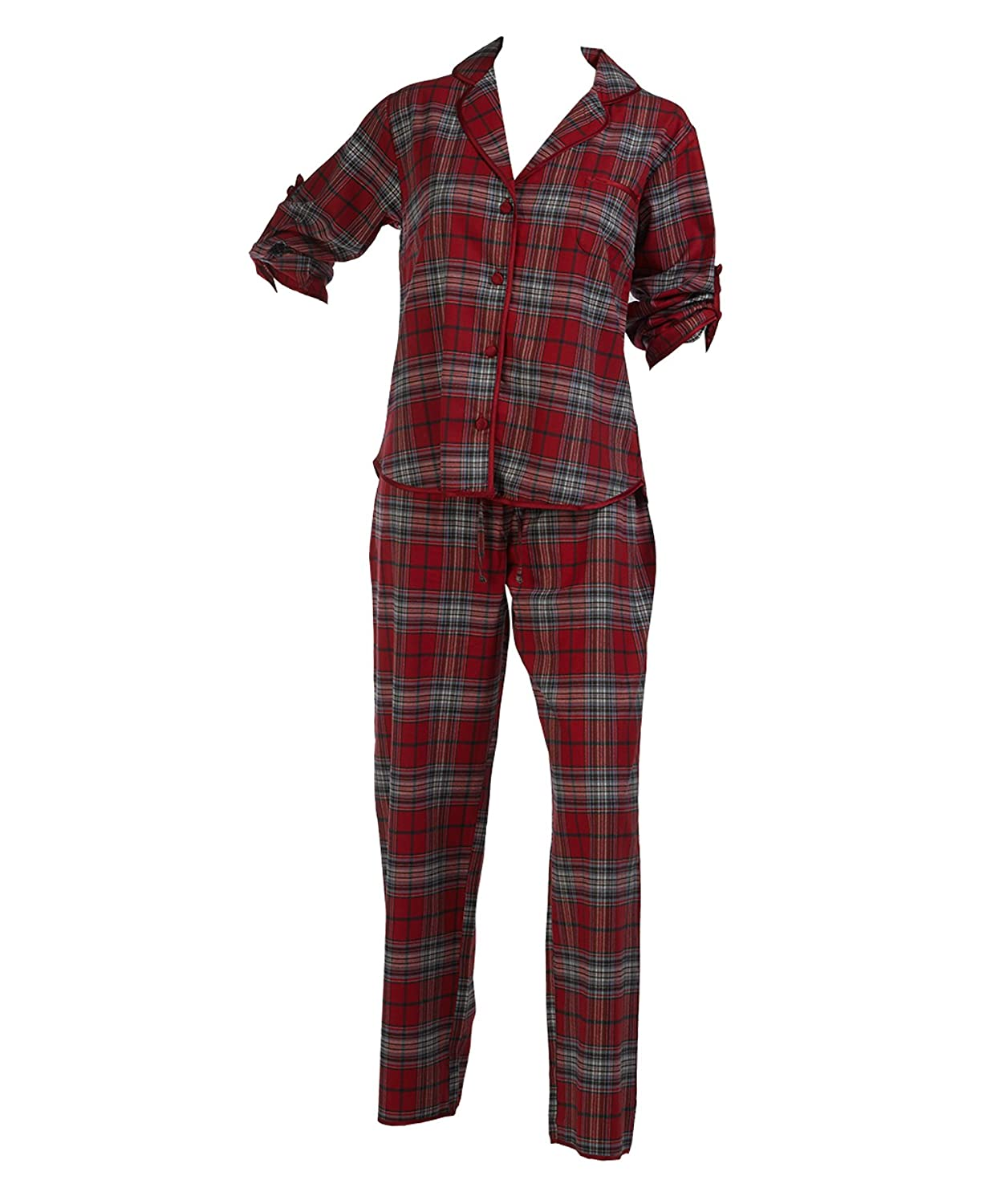 57f7b2676b Ladies Combed Cotton Tartan Pyjamas Roll Sleeve Button Up Top   Bottoms PJs  Set Red (Medium)  Amazon.co.uk  Clothing