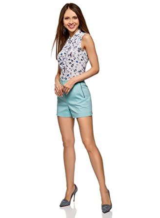 oodji Ultra Mujer Pantalones Cortos de Forma de Trapecio con Cremallera en el Lateral: Amazon.es: Ropa y accesorios