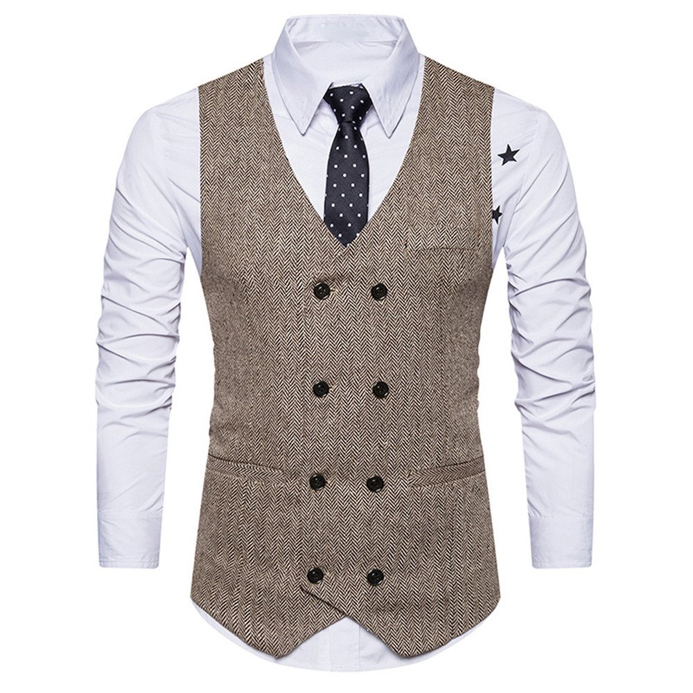 Clothes For Men Charberry Suit Vest Striped Double Breasted Formal Tweed Check Waistcoat Retro Slim Fit Suit Jacket