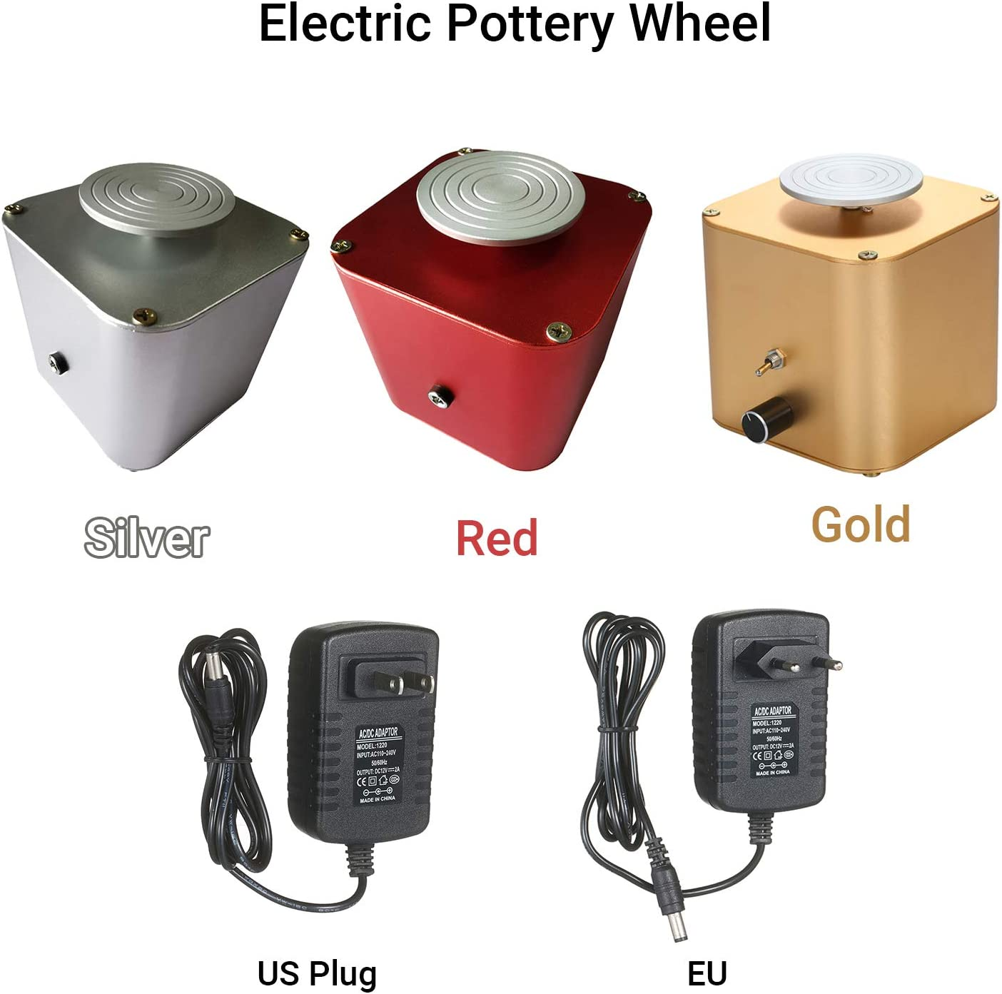 Silver Kecheer Mini Ceramic Machine Clay Sculpting Wheel with Variable Speed and Clockwise//Anticlockwise Rotation DIY Clay Tool for Adults Kids Beginners 6cm Turntable Electric Pottery Wheel Tools