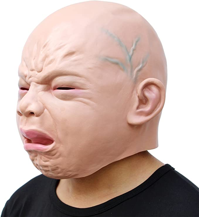 Costribe Cry Baby Full Head Mask Latex Halloween Party Cosplay Props