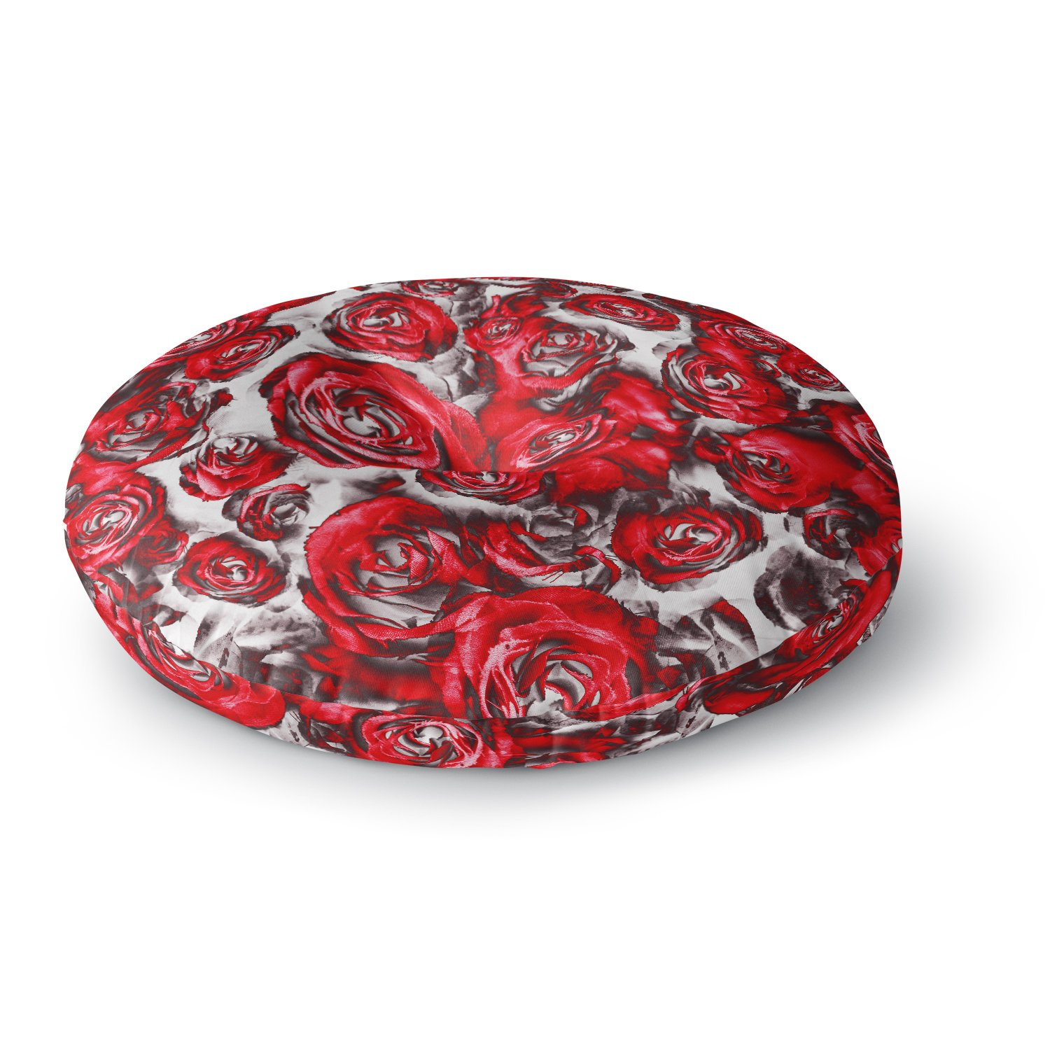 26 Round Floor Pillow Kess InHouse Dawid ROC Roses Floral Red Abstract