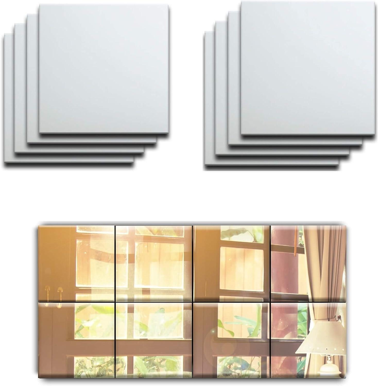 32x Mirror Tile Wall Sticker Square Self Adhesive Room Decor Stick On Art Home
