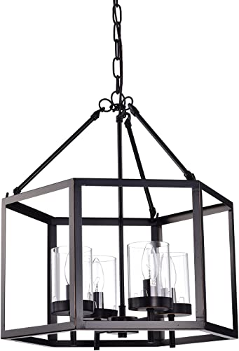 Edvivi 4-Light Oil Rubbed Bronze Hexagon Lantern Cage Chandelier