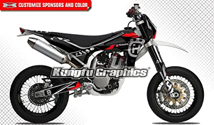 Kungfu Graphics Custom Decal Kit for 2008 2009 2010 Husqvarna SM SMR 450 510 530 Dark Black