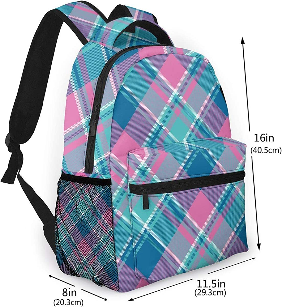 Pink Pastel Color Plaid Fashion Outdoor Shoulders Bag Durable Travel Camping Backpack For Adult