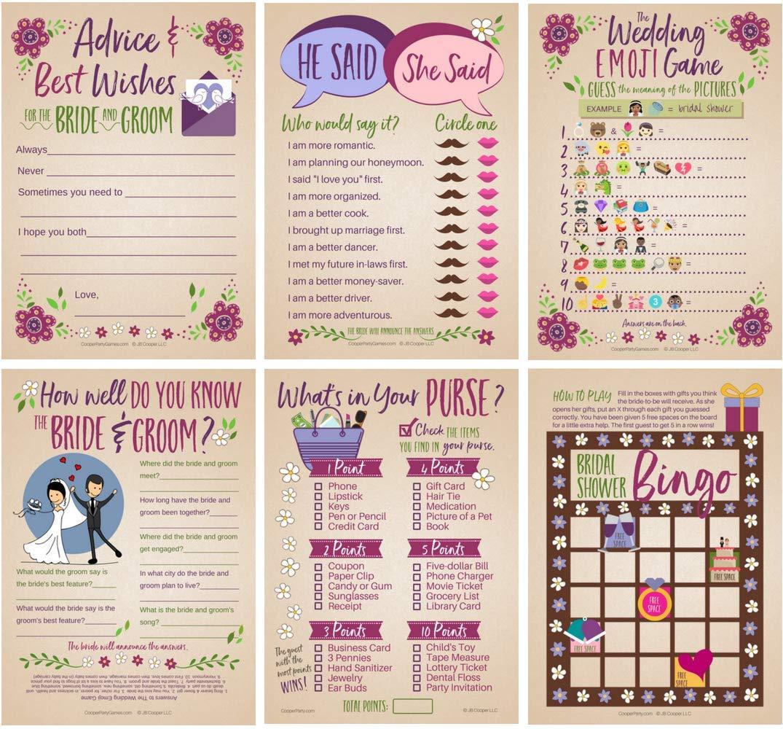 6 Bridal Shower Games for 25 Guests | Marriage Advice | Wedding Emoji Game | He Said She Said Game | Bridal Bingo