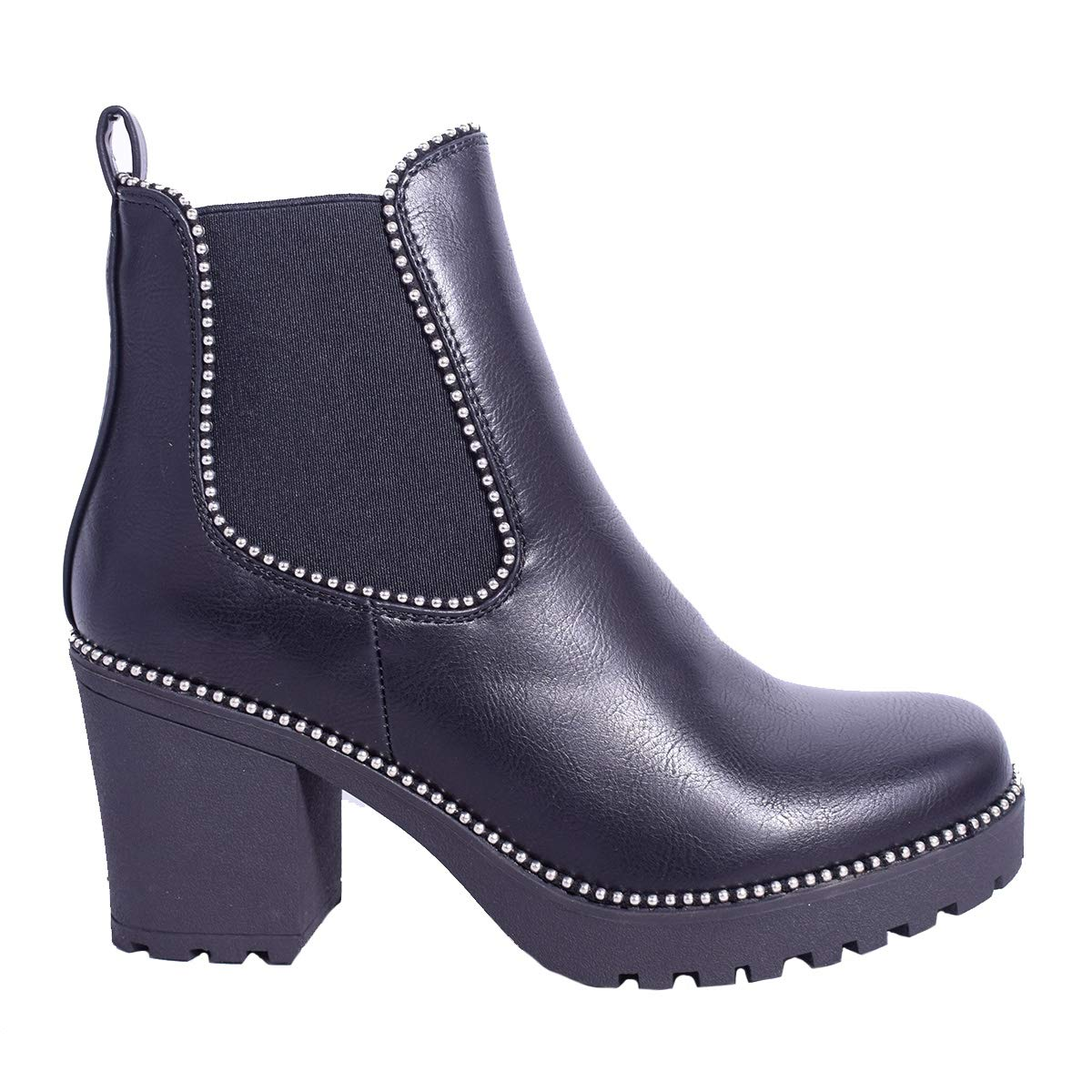 Ladies Womens New High Heel Zip Up Studded Chelsea Ankle Biker Boots Shoes Size