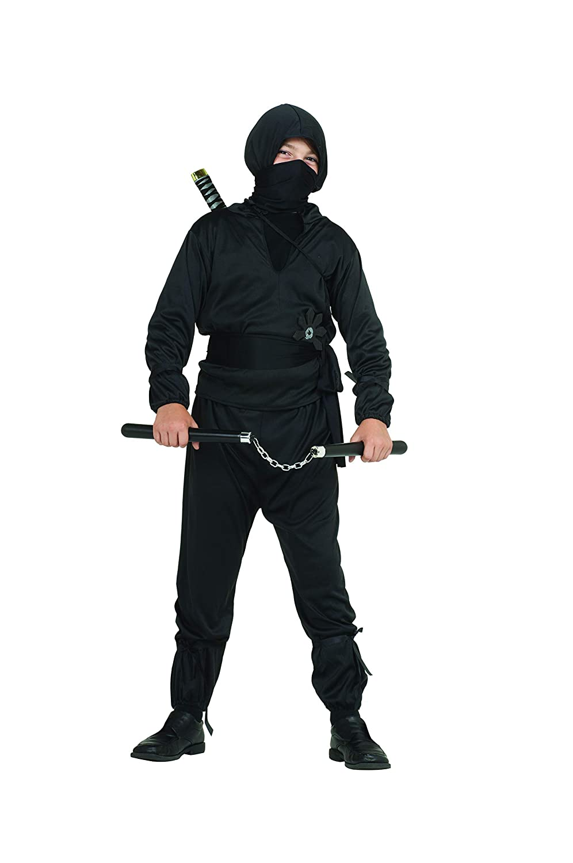 Arology Child Ninja Costume Fabric for Comfortable Fit, Including Shirt with Hood, Pants, Face Scarf, Sash