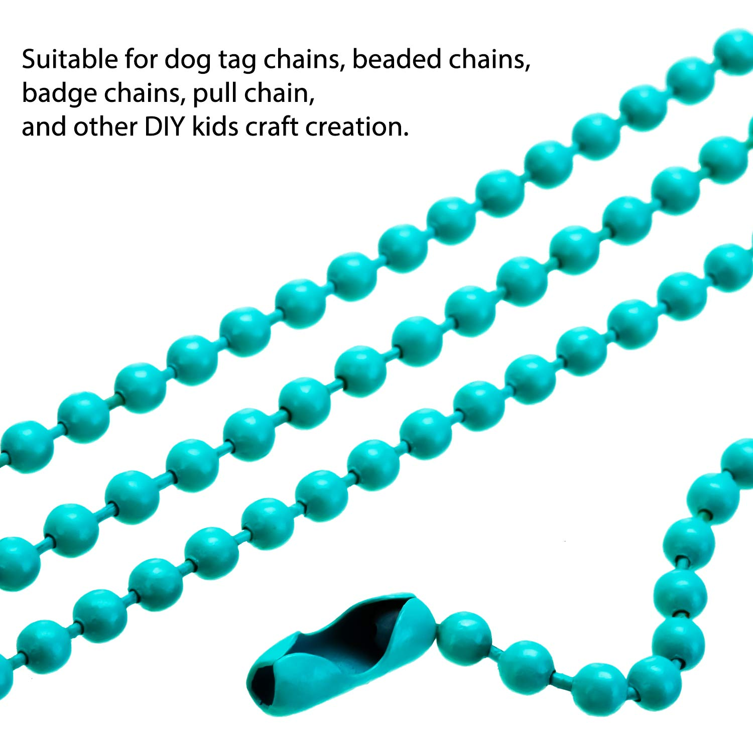 Craft Projects Tags 100 Pieces Key Chain Ball Bead Metal Chain Mixed Color Bead Metal Chain Necklace with Connectors for Jewelry Findings