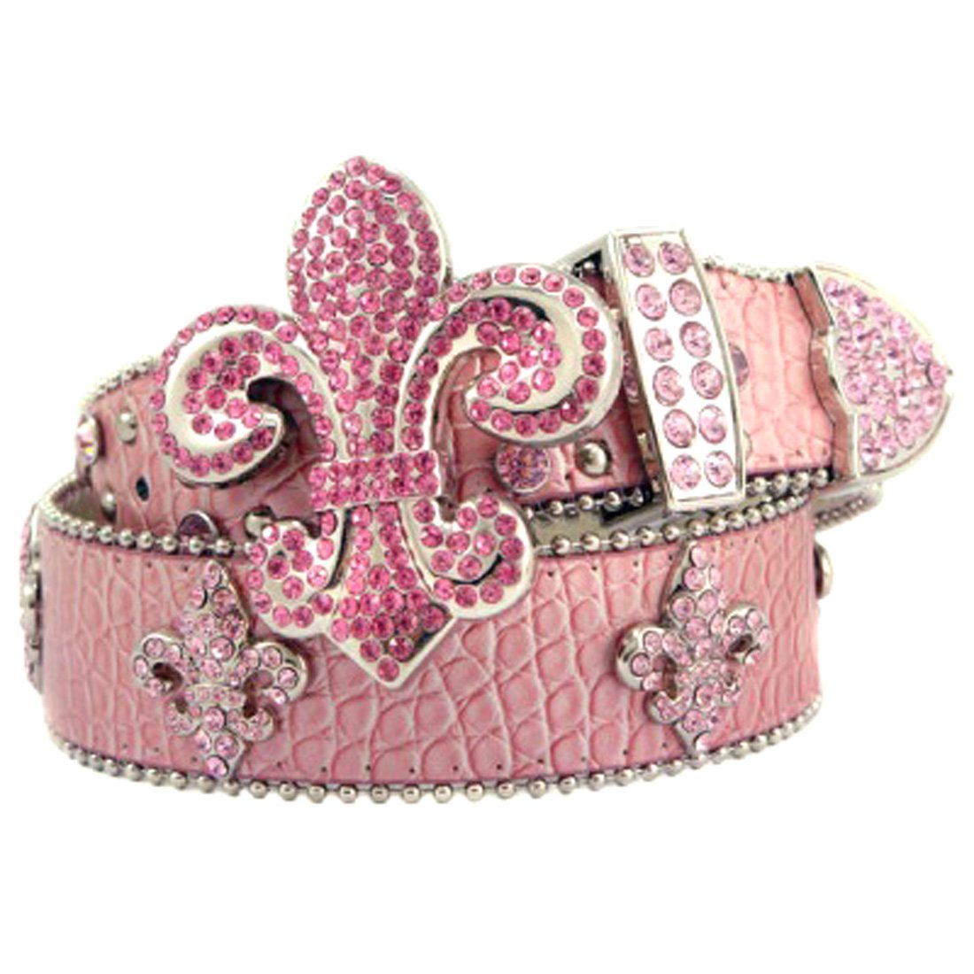 Pink Leather Belt in a Crocodile Pattern, Decorated with a Fleur De Lis Buckle with Pink Crystals, Size S/M